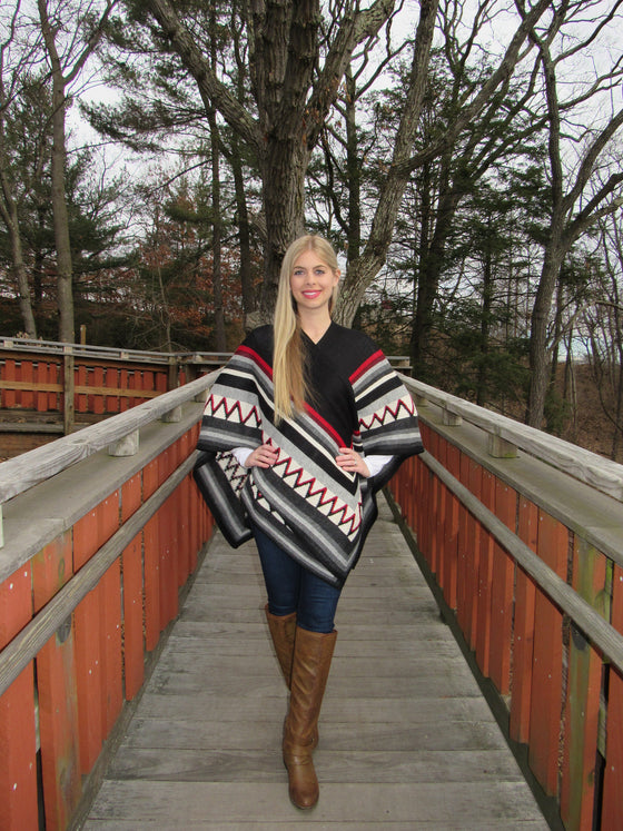 100% Fine Alpaca - Incan Pattern Ruana - Black / White / Red