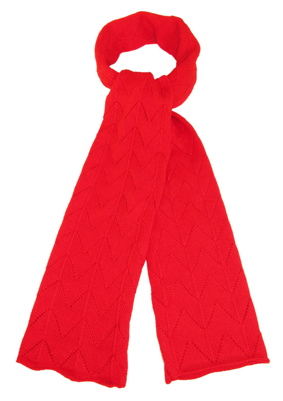 100% Baby Alpaca Leaf Lace Hand Knit Scarf – Red
