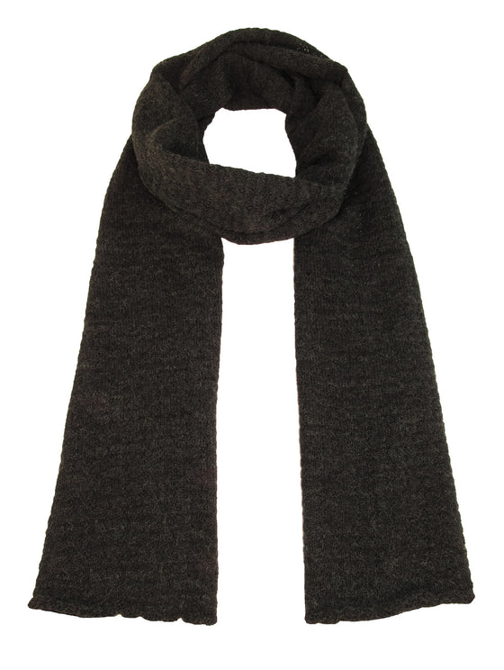 100% Baby Alpaca Hand Knit Lace Scarf – Charcoal