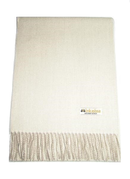 100% Baby Alpaca Reversible Brushed Scarf - Ecru and Soft Camel