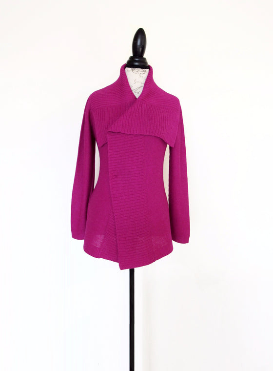 100% Fine Alpaca - Links Stitch Long Line Sweater - Magenta