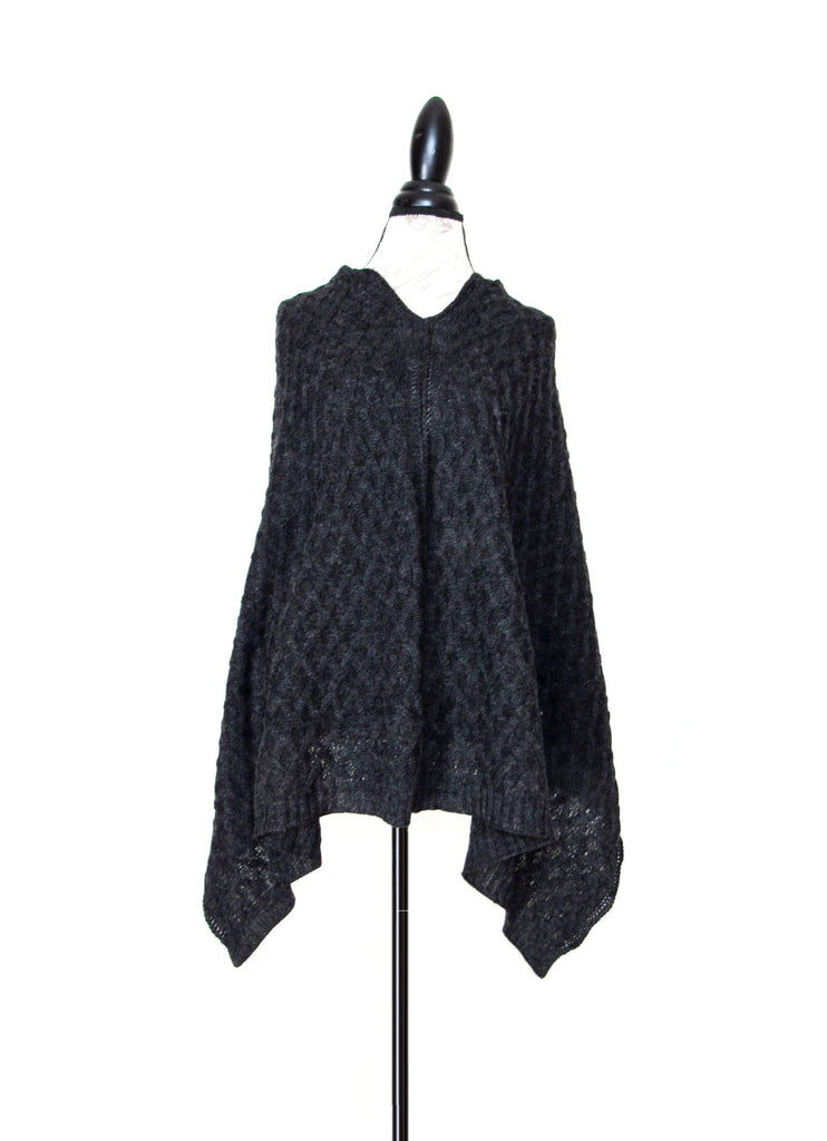 100% Baby Alpaca Cabled Poncho - Charcoal