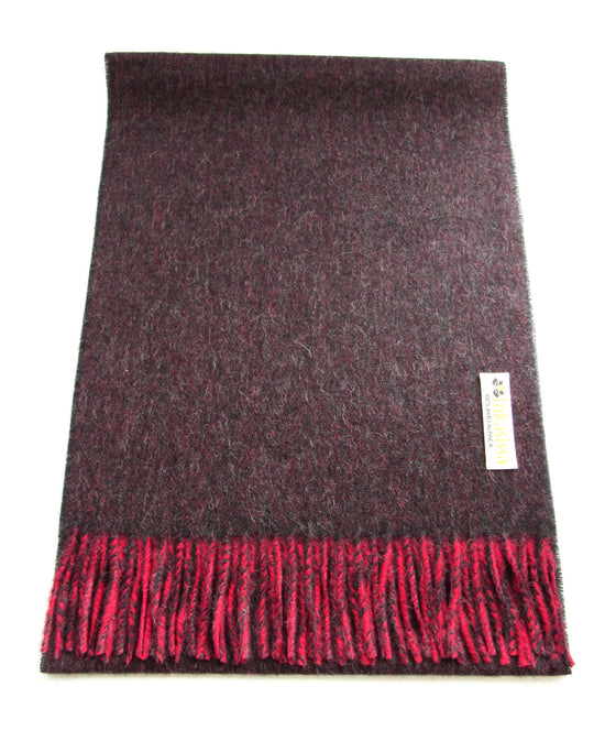 100% Baby Alpaca Reversible Brushed Scarf - Berry and Dark Brown