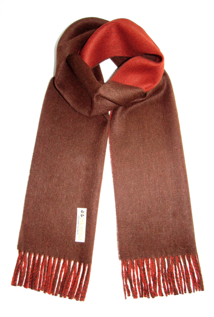 100% Baby Alpaca Reversible Brushed Scarf - Paprika and Brown