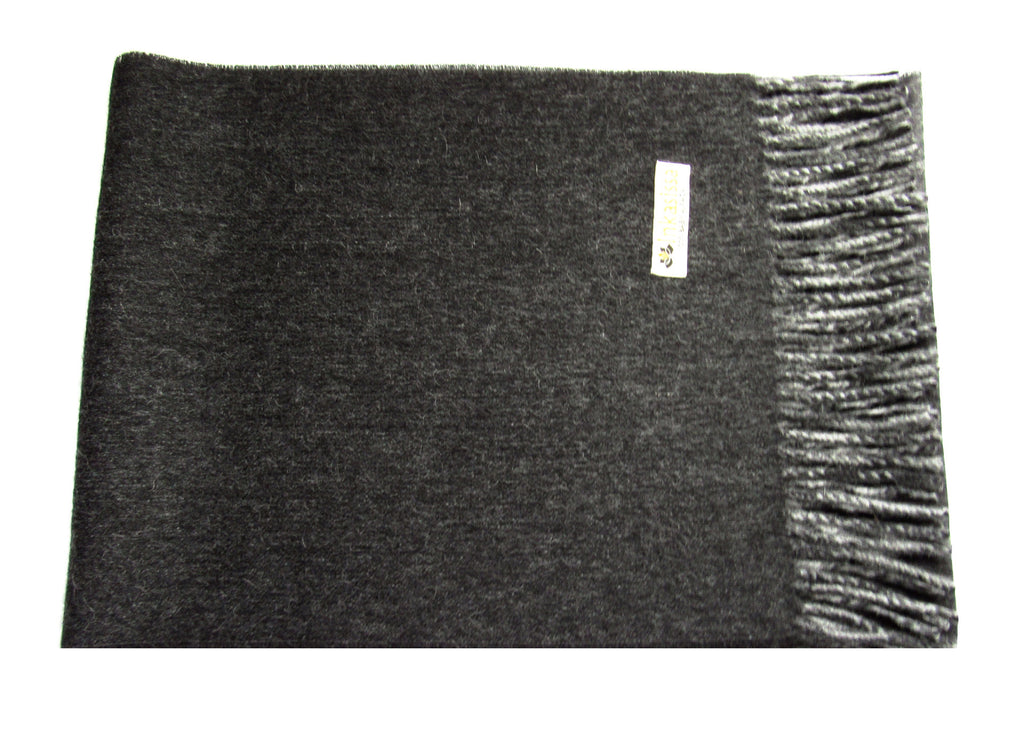 100% Baby Alpaca Reversible Brushed Scarf - Charcoal and Silver
