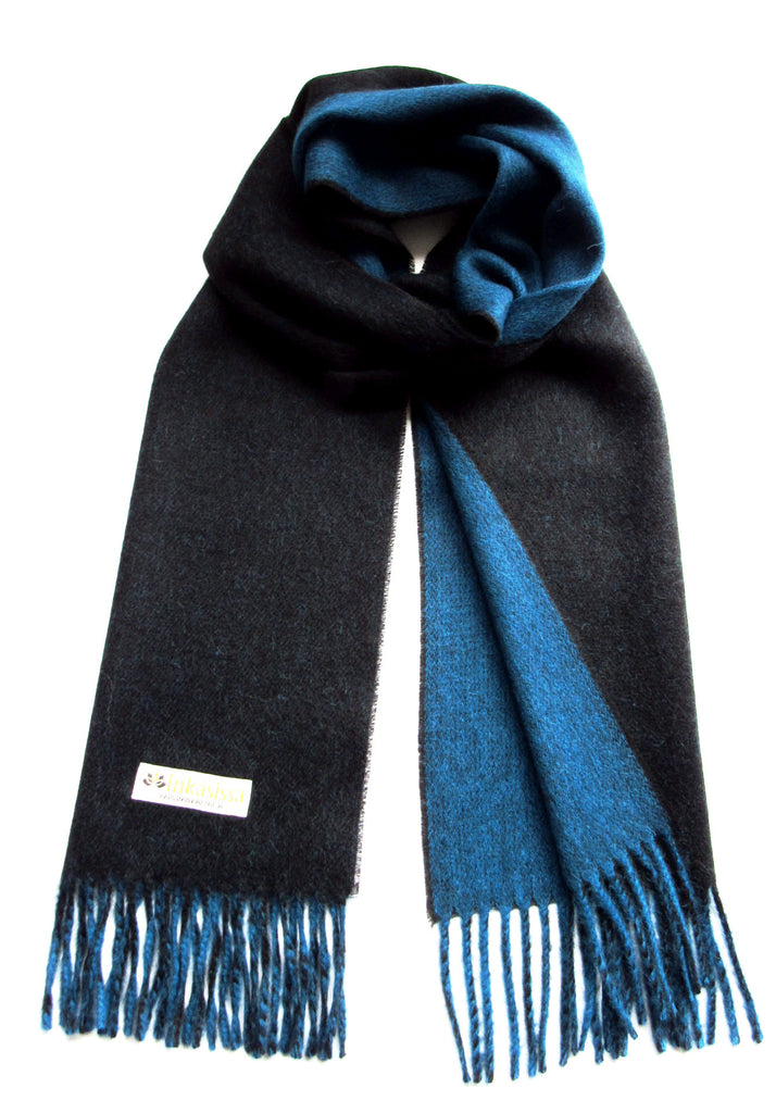 100% Baby Alpaca Reversible Brushed Scarf - Black and Blue