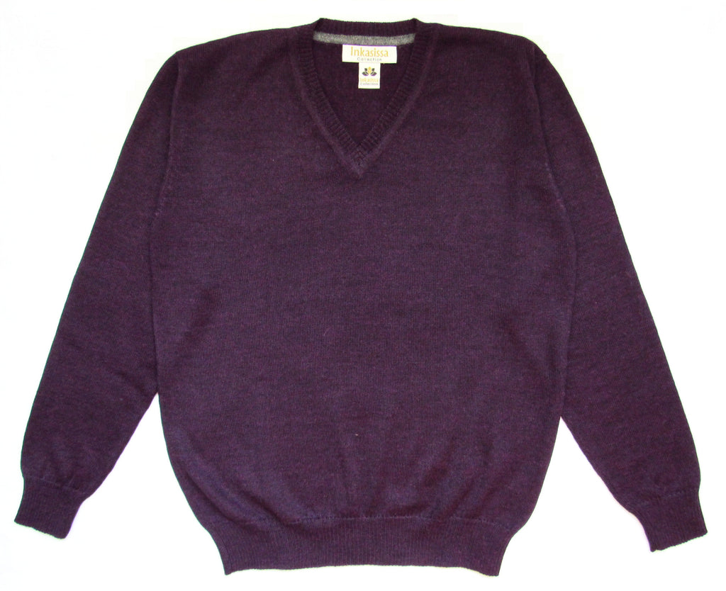 Plain Knit V-Neck Alpaca Sweater - Dark Purple