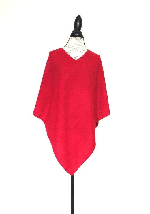 100% Baby Alpaca Poncho - Red