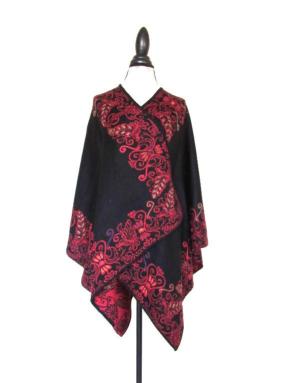 100% Baby Alpaca - Reversible Wrap Ruana 'Floral Silhouette' - Cherry Red / Black