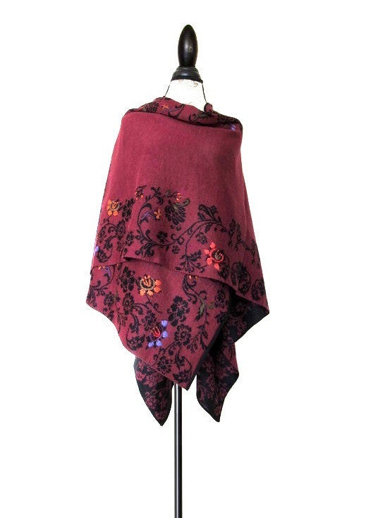 100% Baby Alpaca - Reversible Wrap Ruana 'Samin'- Berry / Black