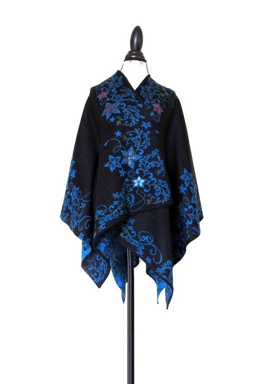 100% Baby Alpaca - Reversible Wrap Ruana 'Floral Essence' - Royal Blue / Black