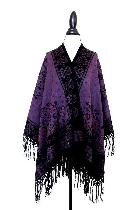 100% Baby Alpaca - Reversible Wrap Ruana 'Khuyana' - Dark Purple / Black