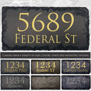 Customizable Slate Home Address House Sign - Gold, Silver or White Embossed Effect on Black, Brown or Blue - Handmade and Personalized