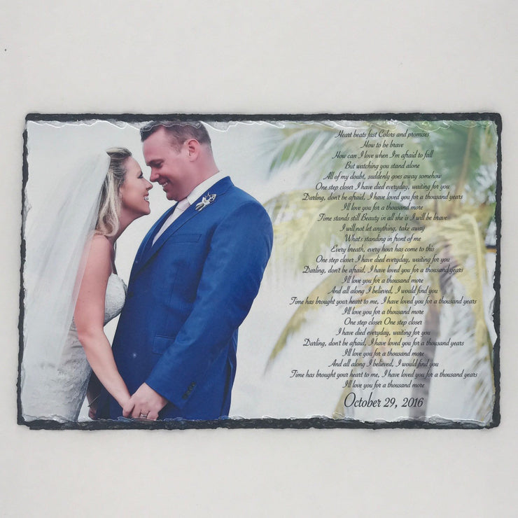 Customizable Slate Photograph - Handmade and Personalized Photo Plaque Color or B/W with your choice of text