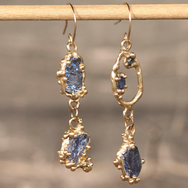 Asymmetrical Raw Sapphire Mermaid Earrings