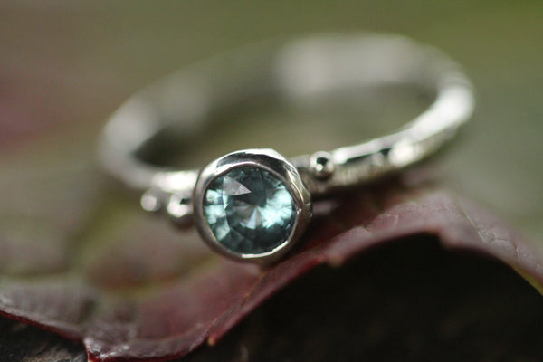 Coastal Droplet  Sky Blue Sapphire Ring