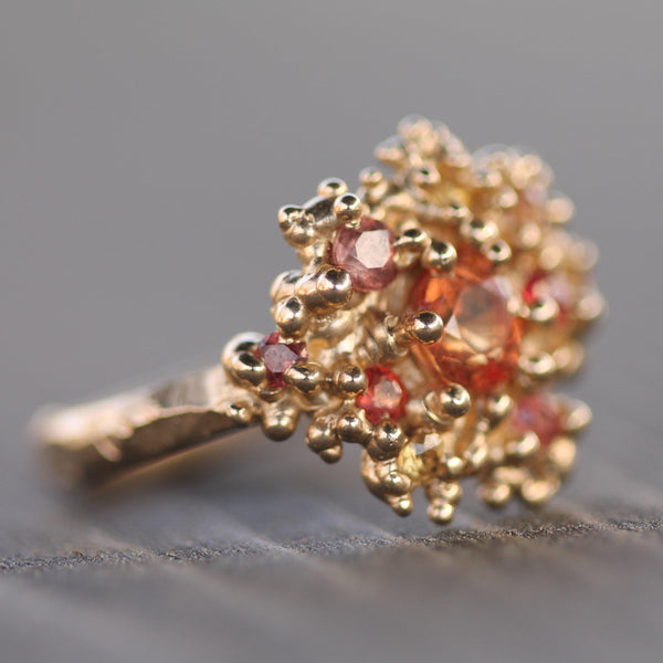 Golden bubbles and beautiful sapphires set in a one of a kind ring