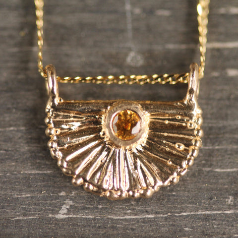 Chasing Sunsets Yellow Sapphire and 14k Gold Pendant