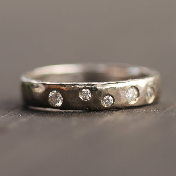 Staggered Diamond and White Gold Band