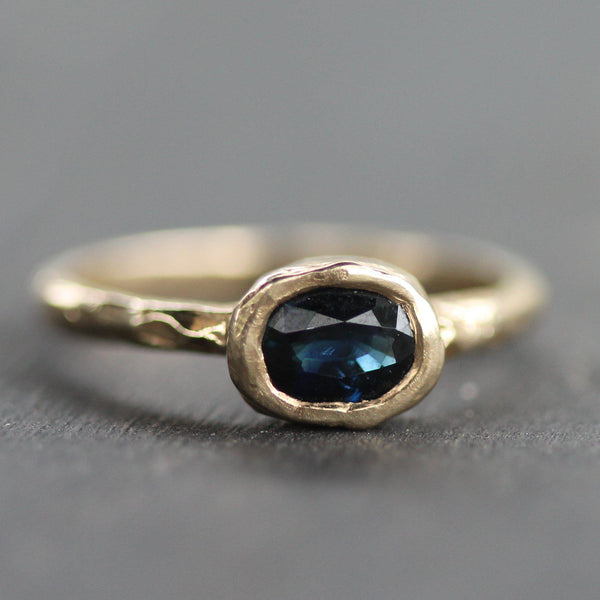 Dark Blue Sapphire Ring--Emma Glover Designs
