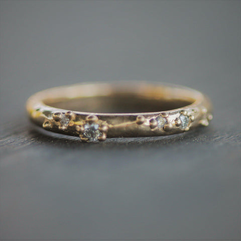 West Coast Rain Diamond Wedding Band-Ring-4-14k Yellow Gold-Emma Glover Designs
