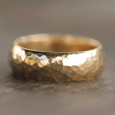 Hammered gold domed band