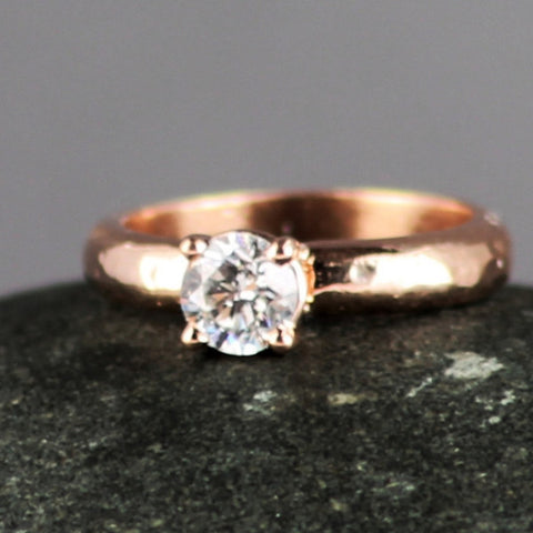 Hammer Textured Solitaire Engagement Ring with Prong Setting