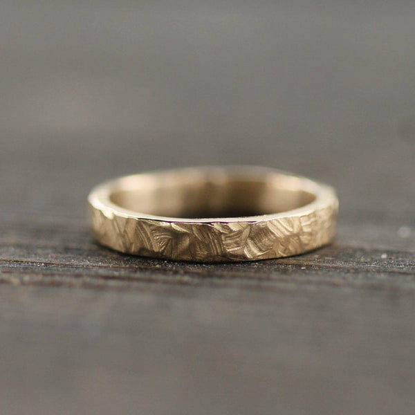 Hand carved golden men's wedding band