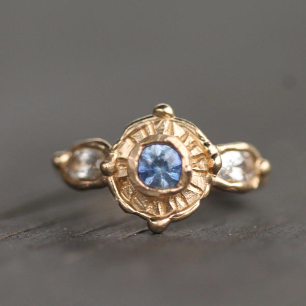Rustic handmade gold ring with sapphires