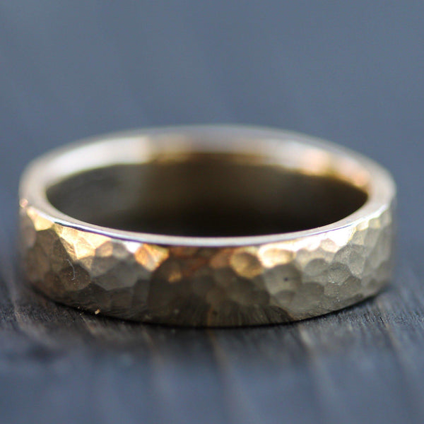 Hand carved hammered wedding band