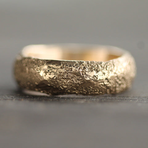 Hand carved sand textured band