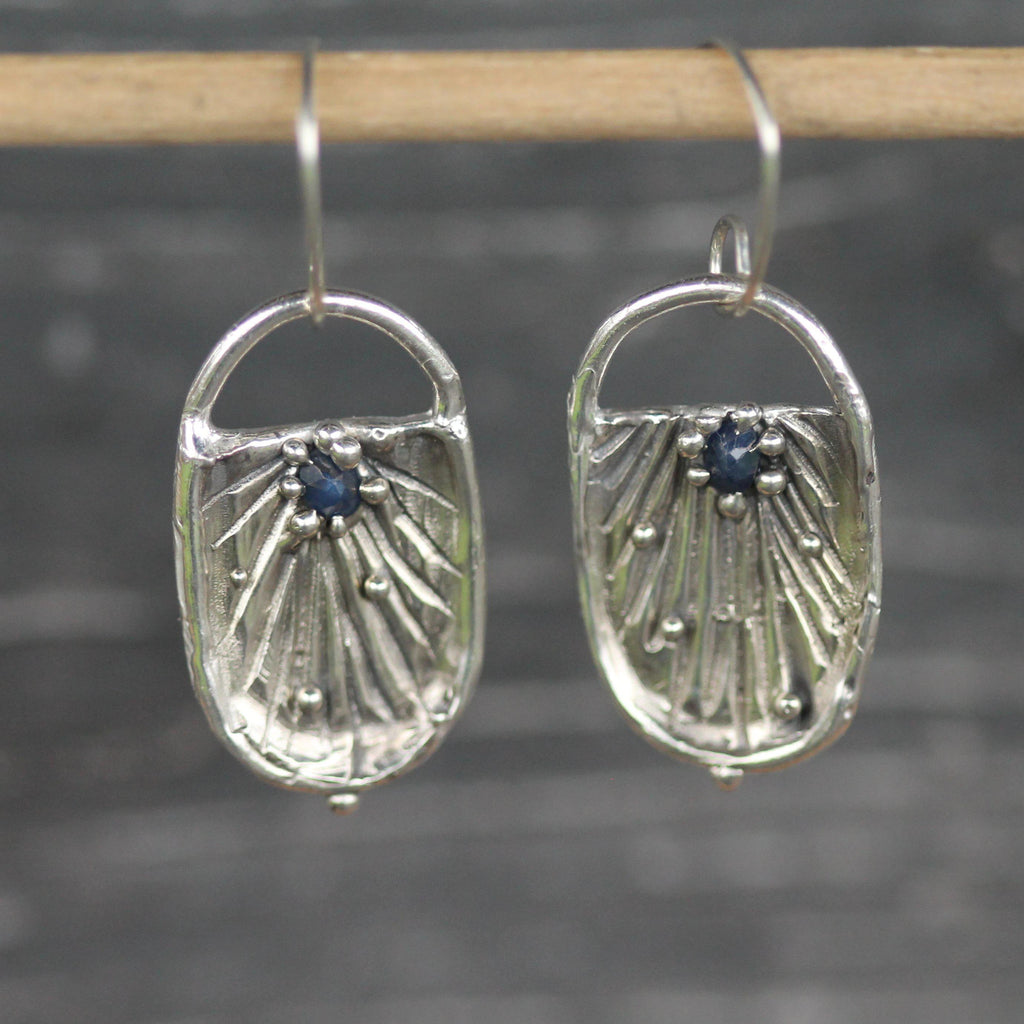 raw sapphire, sterling silver earrings