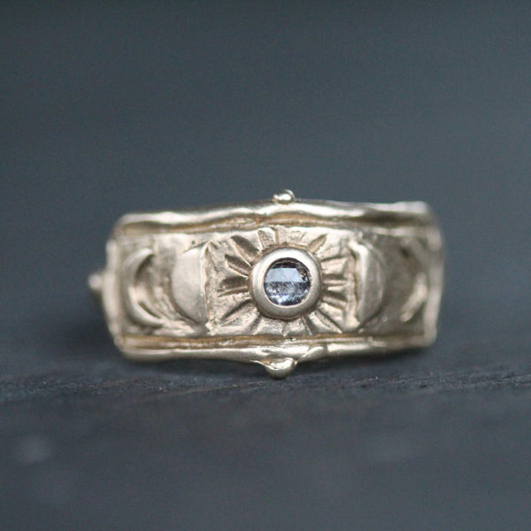 This gold ring is approx 9mm wide and a beautiful just because ring