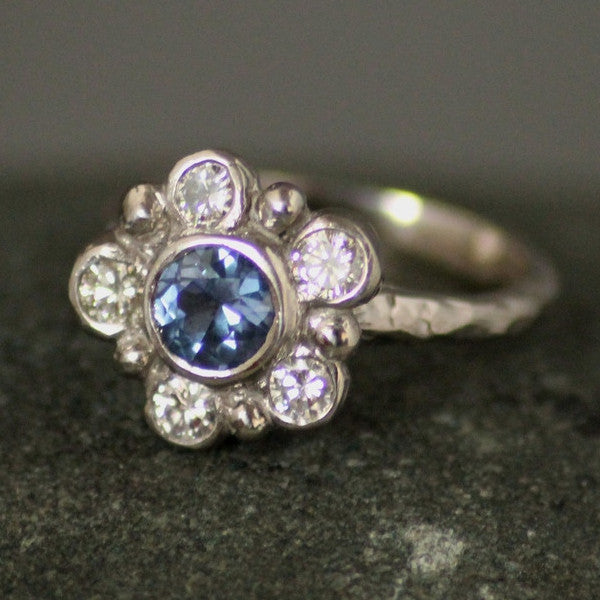 Spring Sapphire and Diamond Engagment Ring