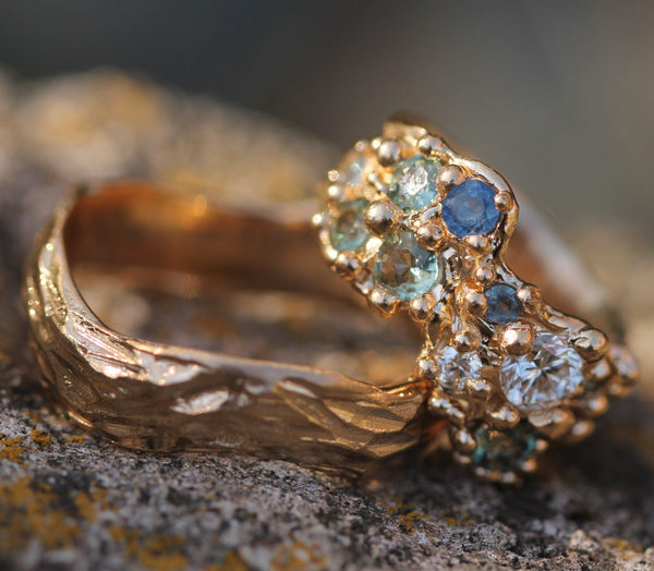 Custom - 14k Yellow Gold with Sapphires & Diamonds
