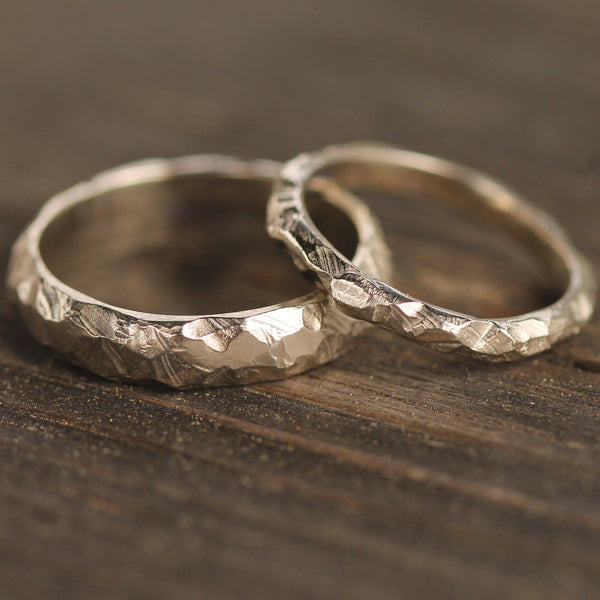 14k white gold hand carved wedding bands