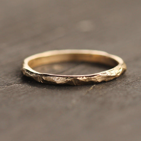 14k yellow gold hand carved band