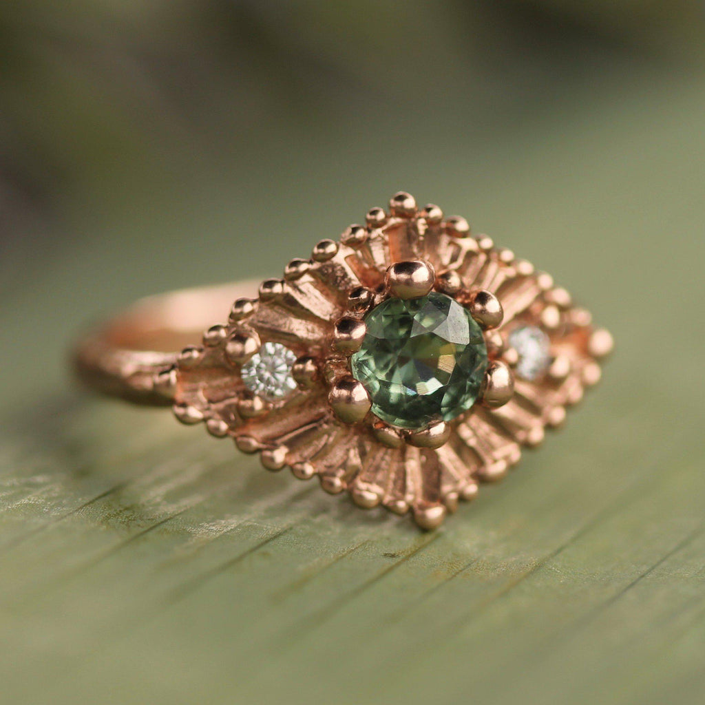 Custom - 14k Rose Gold with Green Sapphire & Diamonds--Emma Glover Designs