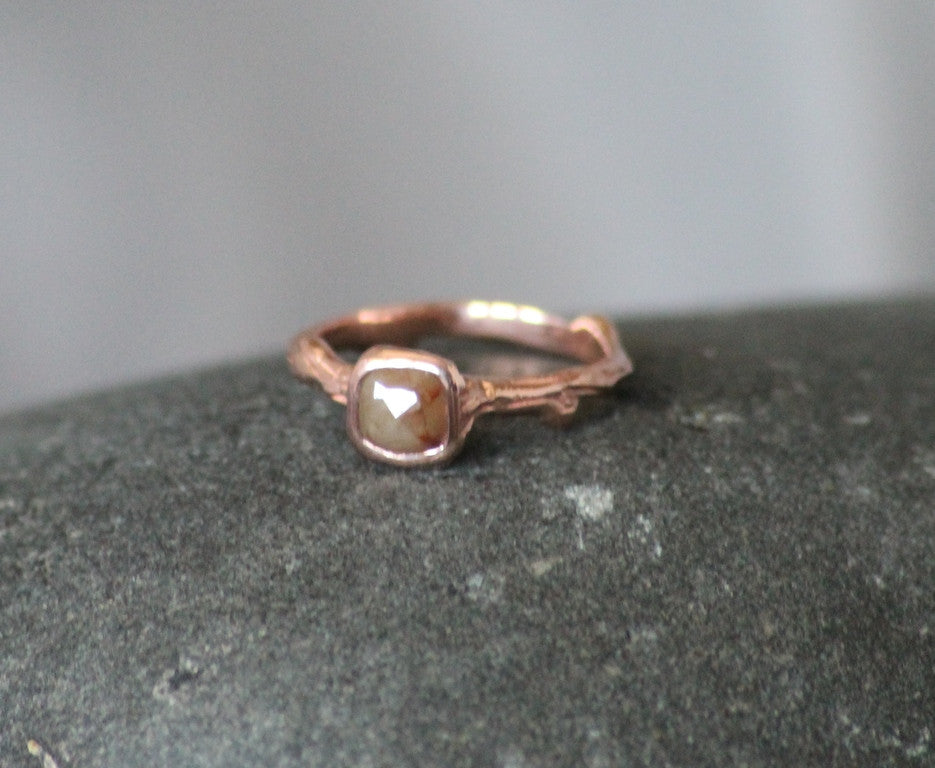Rustic Rose and Twig Diamond Engagment Ring