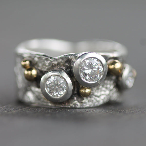 Custom - Silver with Gold Droplets and Diamonds