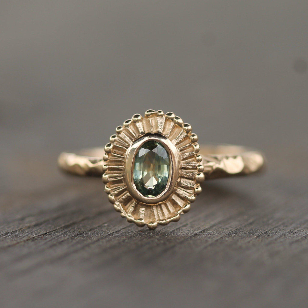 Custom - 14k Yellow Gold with Green Sapphire