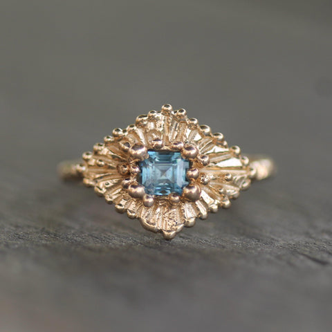 Ocean blue sapphire ring in 14k yellow gold