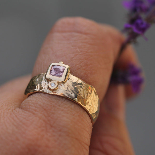 Pictured on hand to show the texture detail and size of the gold band