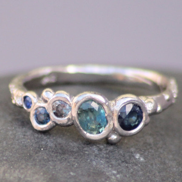 Sapphire Ocean Bubble Ring- made to order