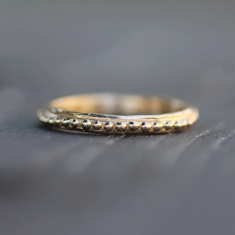 Hand carved unique gold band