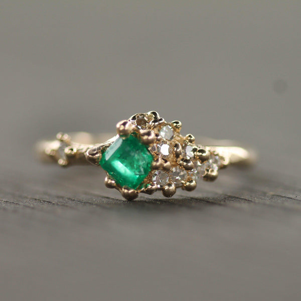 Custom - 14k Yellow Gold with Heirloom Emerald & Diamonds