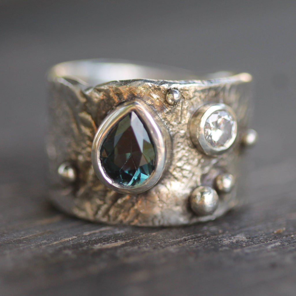 Custom - Silver with Teal Sapphire & Diamond