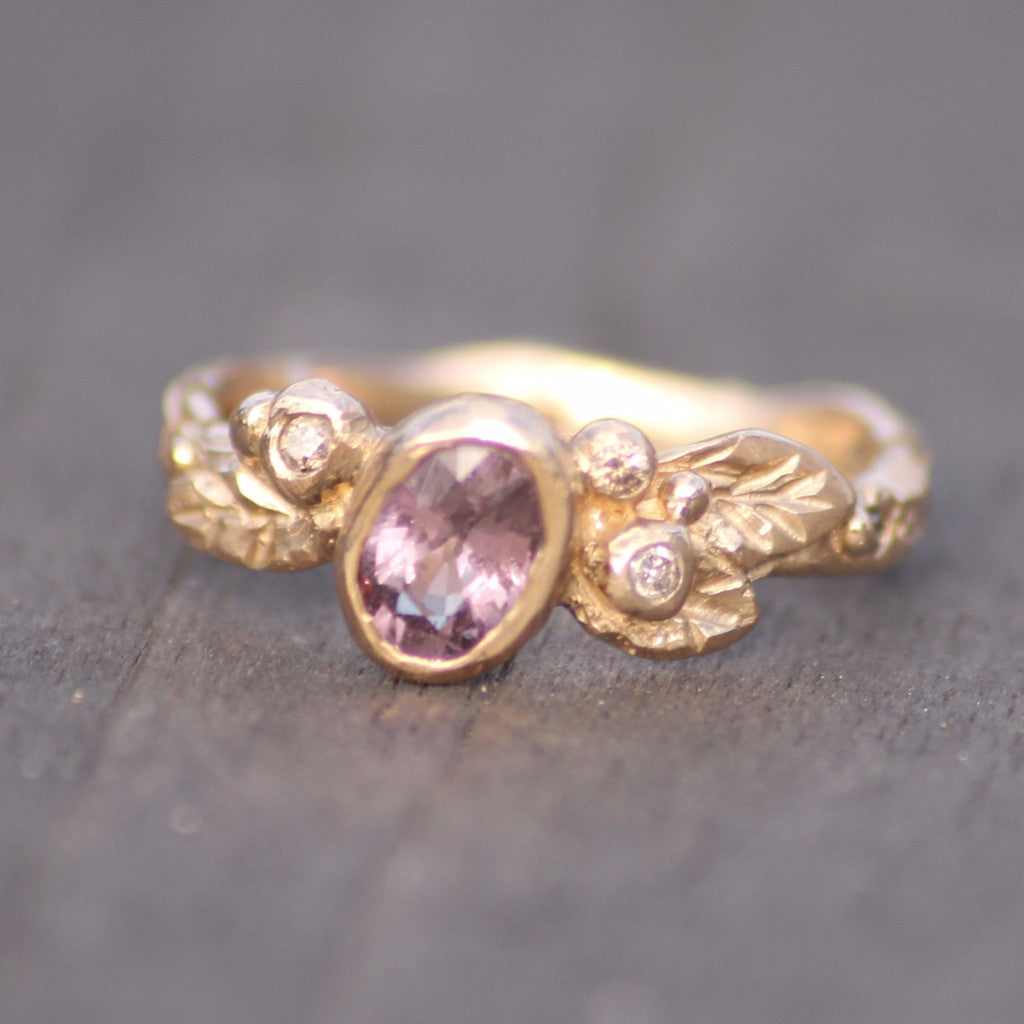 Purple Sapphire and Champagne Diamond Twig and Leaf Ring
