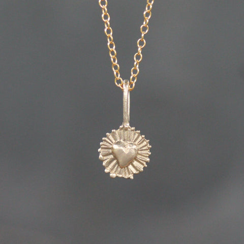 Shining Heart Pendant-Necklace-Yellow Bronze-Emma Glover Designs