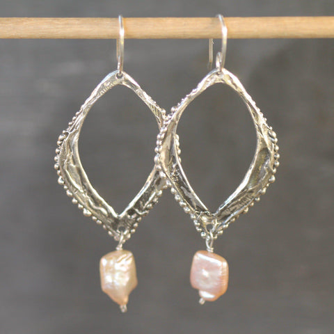 Hand carved sterling silver earrings with keshi pearls